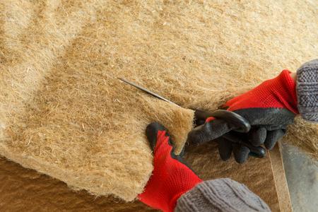 materials background - compressed thermal insulating hemp fiber bonded panels 版權商用圖片