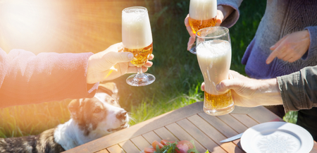 Family of different ages people cheerfully celebrate outdoors with glasses of beer proclaim toast.