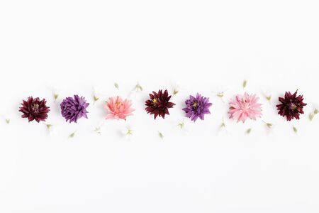 Festive flower composition on the white background. Overhead view