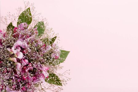 Pastel colors wedding bouquet made of sweet pea flowers isolated on pink background
