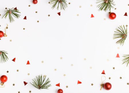 Christmas composition on white background. Flat lay, top view