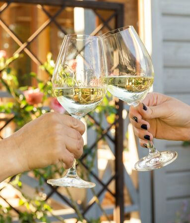 Family of different ages people cheerfully celebrate outdoors with glasses of white wine, proclaim toast Фото со стока