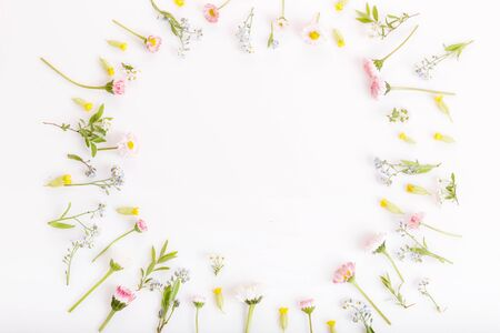 Festive flowers frame, composition on white background. Overhead top view, flat lay, square. Copy space.