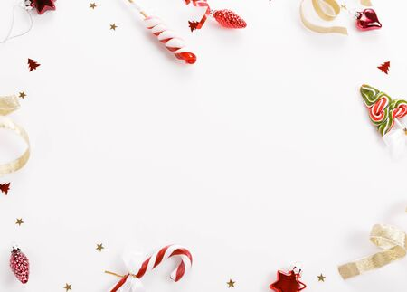 Christmas background, Christmas present red gifts box and decorating elements on white background.