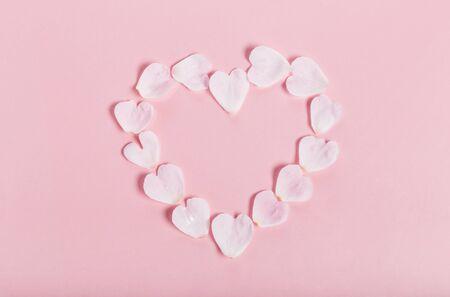 Detail of valentine background made of pink rose petals Stock fotó