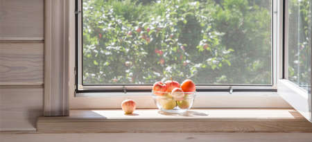 White window with mosquito net in a rustic wooden house overlooking the garden. Organic apples in bowl on windowsill.