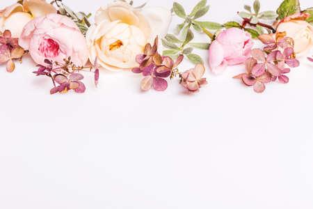 Autumn pattern made of rose flowers and dried hydrangea Zdjęcie Seryjne