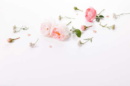 Flowers composition. Frame made of pink rose flowers on white background. Flat lay, top view 写真素材