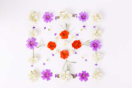 Spring frame of small flowers , floral arrangement