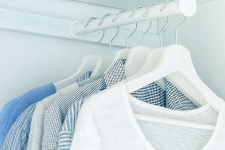 White wardrobe with light blue shirts and blouses hanging on hangers.