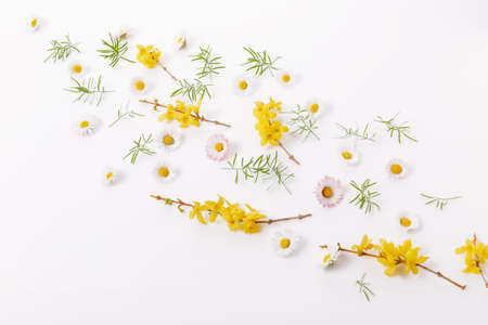 Spring frame of small flowers and daisy, floral arrangement 免版税图像 - 166221506
