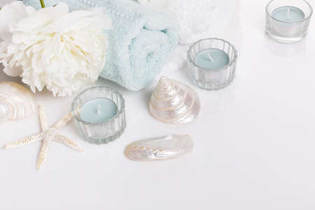 Spa sea salt background, setting with stones and shells, top view