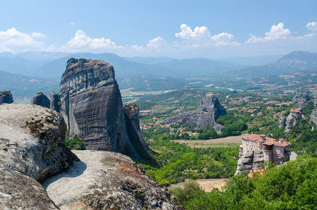vertices: Greece, Meteora, the view from the plateau to the valley of Thessaly