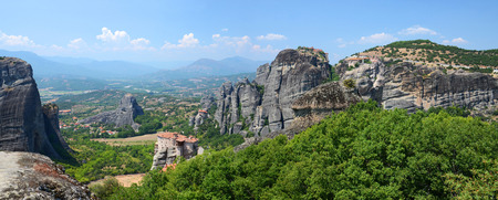 thessaly: Greece, Meteora, panoramic view from the plateau to the valley of Thessaly