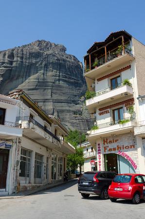 kalambaka: Meteora, Greece - August 11 2014  a narrow street in the village of Kalambaka   Editorial