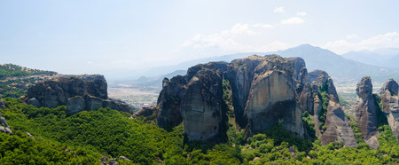 meteors: Greece, Meteora, the view from the observation deck  of the valley and rocks