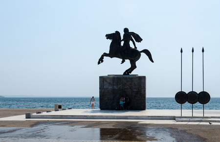 great bay: THESSALONIKI, GREECE - AUGUST 13 2014: Waterfront. Monument to Alexander the Great in August 13 2014 in Thessaloniki, Greece