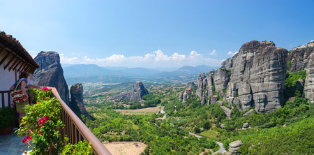 meteors: METEORS, GREECE - AUGUST 11, 2014: The view from the observation deck of the Monastery of St. Barbara Editorial