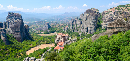 meteors: Greece, Meteors, panoramic view from the plateau to the valley of Thessaly Stock Photo