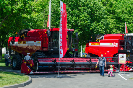 harvesters: GOMEL, BELARUS - MAY 22, 2015: Combine harvesters Polesye in the open air during the XVI International Universal Exhibition-Fair Spring in Gomel-2015 Editorial