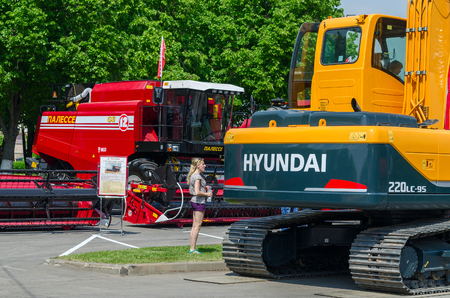 agriculture machinery: GOMEL, BELARUS - MAY 22, 2015: Technics in the open air during the XVI International Universal Exhibition-Fair Spring in Gomel-2015