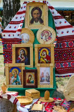 wood carvings: GOMEL, BELARUS - MAY 22, 2015: Outdoor event City of Masters. Exhibition and sale of products (wood carvings)