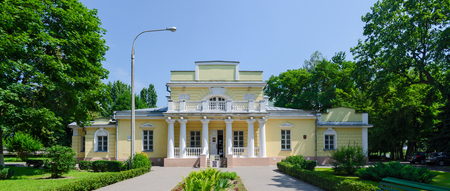 petrovich: GOMEL, BELARUS - JUNE 25, 2015: Hunting Lodge is town mansion in Gomel, former summer residence of Count N.P. Rumyantsev, architectural monument of first half of XIX century. Built in 1820 - 1822 years by architect Ivan Petrovich Dyachkov in style of late