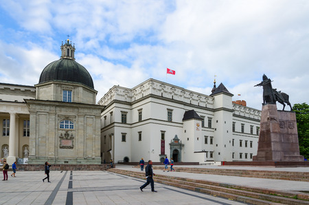 casimir: VILNIUS, LITHUANIA - JULY 10, 2015: Cathedral Square. Chapel of St. Casimir, the Palace of the Grand Dukes of Lithuania, a monument to Grand Duke Gediminas Editorial