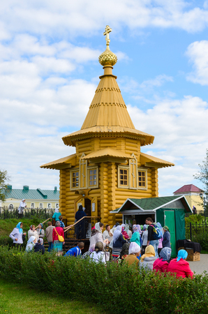seraphim: DIVEEVO, RUSSIA - AUGUST 22, 2015: Unknown pilgrims are on the territory of the Holy Trinity Seraphim-Diveevo monastery near the Chapel in honor of St. Seraphim of Sarov, Diveevo, Russia