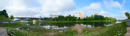 hydrological: VITEBSK, BELARUS - SEPTEMBER 4, 2015: Shallowing of the Western Dvina river bed due to the dry summer. As of September 1, the water level in the river at hydrological post of Vitebsk was 12 centimeters below zero (below all recorded minimums )