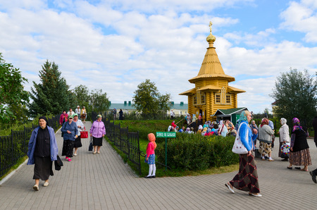 seraphim: DIVEEVO, RUSSIA - AUGUST 22, 2015: Unknown pilgrims are on the territory of the Holy Trinity Seraphim-Diveevo monastery near the chapel in honor of St. Seraphim of Sarov and at the end of the Holy Groove, Diveevo, Russia