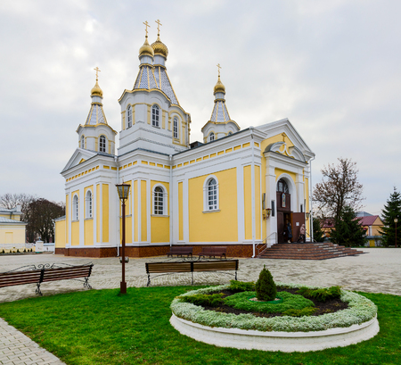 alexander nevsky: KOBRIN, BELARUS - DECEMBER 5, 2015: Unidentified people go out of Church of St. Alexander Nevsky (St. Alexander Nevsky Cathedral) which was built in the years 1864-1868