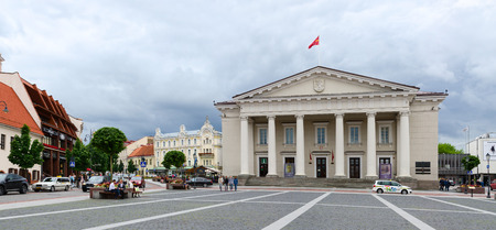 town hall square: VILNIUS, LITHUANIA - JULY 10, 2015: Unidentified people walk on the Town Hall Square in Old Town, Vilnius, Lithuania Editorial