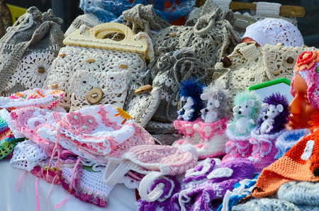 festivities: Outdoors exhibition and sale of crochet products during Shrovetide festivities