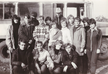 collective: VITEBSK, BELARUS - SEPTEMBER 1988: Students of Vitebsk Medical Institute on seasonal agricultural work in a collective farm, group photo (1988)