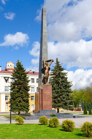 GOMEL, BELARUS - APRIL 23, 2016: Monument to members of the Komsomol - underground fighters at the intersection of Streets of Karpovich and Zharkovskogo, Gomel, Belarus