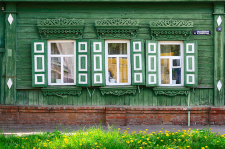 commune: GOMEL, BELARUS - MAY 1, 2016: Fragment of wooden building of the 19th - early 20th centuries,  Paris Commune Street 14, Gomel, Belarus