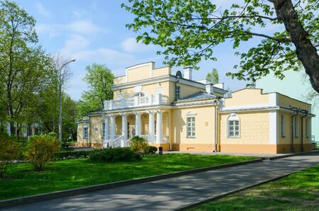 six month old: GOMEL, BELARUS - MAY 1, 2016: Hunting Lodge is town mansion, former summer residence of Count N.P. Rumyantsev, architectural monument of first half of XIX century. Now - Museum of History of Gomel