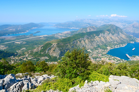 balkan peninsula: Beautiful view from above on Kotor and Tivat Bay and airstrip in Tivat, Montenegro