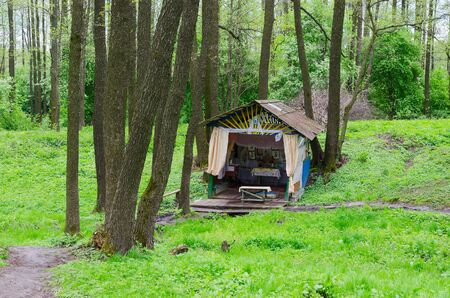 an agricultural district: Holy spring in the forest near the village Sherstin, Vetka district, Gomel region, Belarus