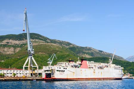 shiprepair: BIJELA, MONTENEGRO - SEPTEMBER 16, 2015: Ship at shipyard of ship repair plant, Bijela, Bay of Kotor, Montenegro