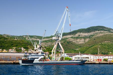 shiprepair: BIJELA, MONTENEGRO - SEPTEMBER 16, 2015: Shipyard in Bijela, Bay of Kotor, Montenegro Editorial