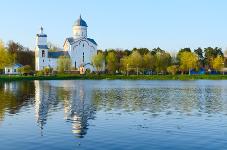 alexander nevsky: Church of St. Alexander Nevsky in the recreation area Ponds, Gomel, Belarus Stock Photo