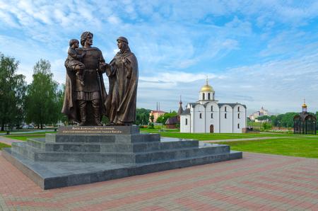 VITEBSK, BELARUS - JULY 13, 2016: Monument to Prince Alexander Nevsky and his wife, Princess Alexandra of Vitebsk, and son of Basil, Vitebsk, Belarus Editorial