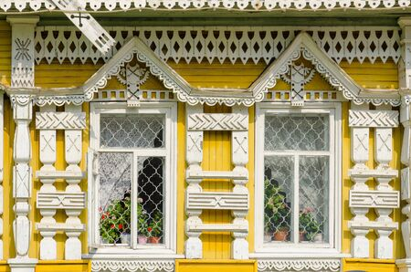 uglich russia: UGLICH, RUSSIA - JULY 19, 2016: Detail of facade of museum of city mode of life in old Russian town of Uglich, Golden Ring of Russia