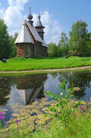 octahedral: KOSTROMA, RUSSIA - JULY 20, 2016: Kostroma Architectural-Ethnographic and Landscape Museum-Reserve Kostromskaya Sloboda. Church of Savior from village Fominskoe of Kostroma region Editorial