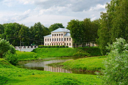 duma: House of governor (building of former City Duma) and Cathedral (St. Nicholas) bridge in park, Uglich, Golden Ring of Russia
