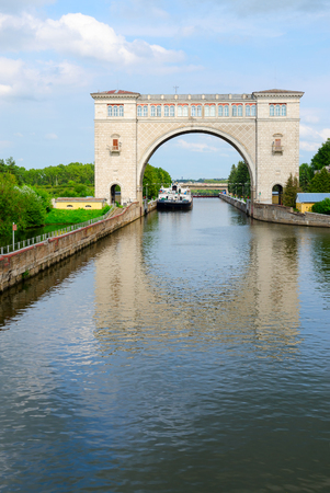 navigable: UGLICH, RUSSIA - JULY 19, 2016: Navigable gateway of Uglich hydroelectric power station Editorial