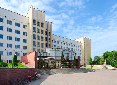 entrants: VITEBSK, BELARUS - JULY 13, 2016: Unidentified young university entrants are near building of Vitebsk State Order of Peoples Friendship Medical University, Belarus