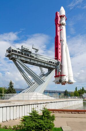 booster: MOSCOW, RUSSIA - JULY 23, 2016: Model of booster rocket Vostok on Industry square, Exhibition of Achievements National Economy, Moscow, Russia